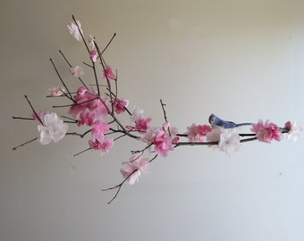 Cherry Blossom Mobile - handmade hanging mobile, branch mobile, home decor, kids, nursery mobile, bird on branch, pink flower mobile,