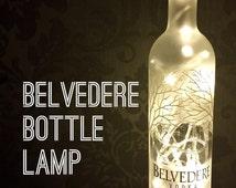 Belvedere Vodka 700ml Lamp Light Upcycled Bottle Unique Present