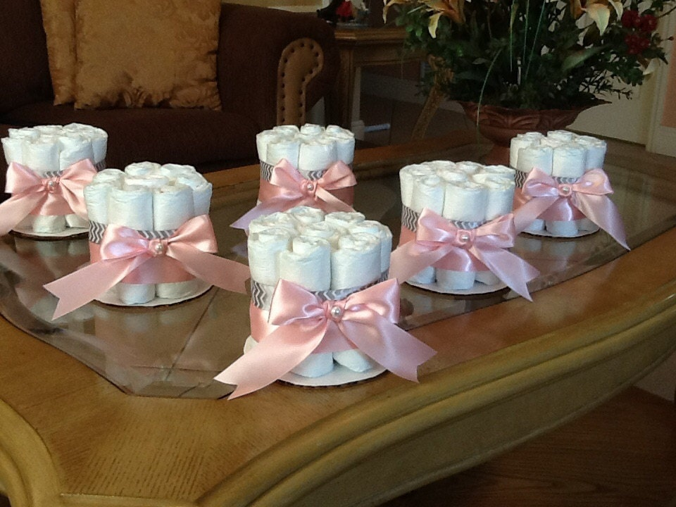 Diaper cake set of 6 diaper cakes baby girl shower pink and for Pink diaper bouquet