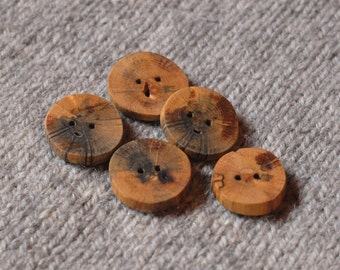 Wood buttons Branch buttons - 5 branch buttons from oak tree
