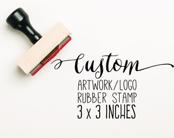 CUSTOM 3 x 3 inch Stamp, Custom Logo Stamp, Custom Artwork Stamp, Business Card Stamp, Custom Stamp Logo, Company Stamp, Business Stamp,
