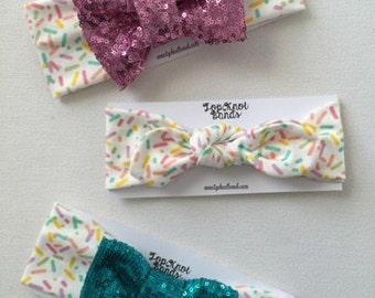 Birthday ,1st Bday, Rainbow Sprinkle Headband, Bowband, Topknots, newborn, babies, children, toddlers, adults