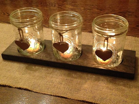 Etsy Candle Centerpiece : Rustic candle holder centerpiece