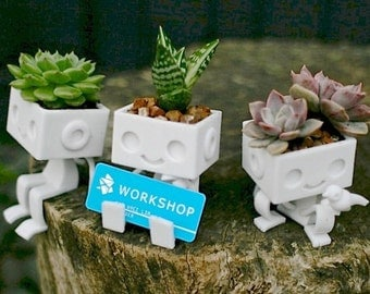 Set of 3 3dprinted Robot planters