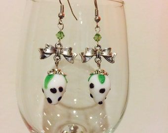 White Strawberry Glass Bead with Bow Charm Earrings