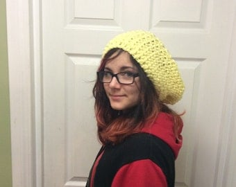 Slouchy Hat, Crocheted Hat, Crocheted Beret, Yellow Slouch Hat