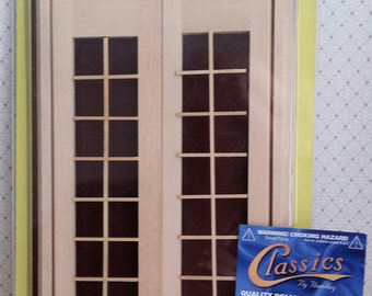 """Miniature Double French Doors with Acrylic and Hardware. Unfinished Wood.  Imported. 1:12"""" Scale"""