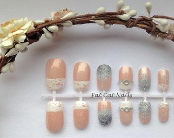Wedding False Nails, 3D Nail Art, Fake Nail Set, Kawaii Nails, Ivory Wedding Dress,Diamond Ring,Artificial Nails,Glitter Nail Polish, Bridal