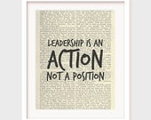 Leadership Quote, Leadership is an Action, Not a Position, Quotes about Leading, Printable Office Art, Instant Download