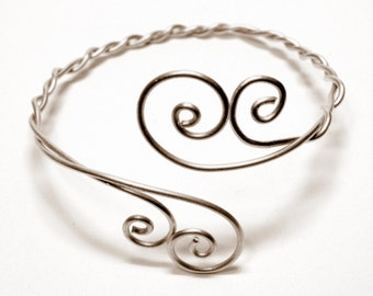 Upper Arm Cuff Double Spiral  - Gold - Sterling Silver 925 Upper Arm Band