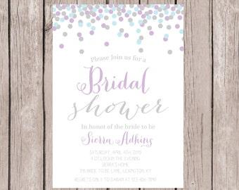 PRINTABLE- Bridal Shower Invitation, Confetti Bridal Shower Invite, Purple, Blue and Grey Invitation- 5x7 JPG