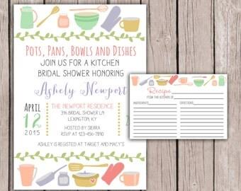 PRINTABLE- Kitchen Bridal Shower Invite and Recipe Card- Kitchen Bridal Shower Invite- Bridal Shower Invite- 5x7 JPG