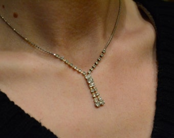 Vintage Clear Rhinestone Necklace Silver Tone Chain