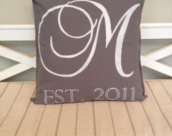 Hand Painted Pillow Cover - Monogram