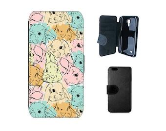 Wallet flip case iPhone 6 6S 8 7 Plus SE 5S 5C X 4S, Samsung Galaxy S8 Plus, S7 S6 Edge, S5 S4 Mini, Rabbit Phone cover with bunnies. F140