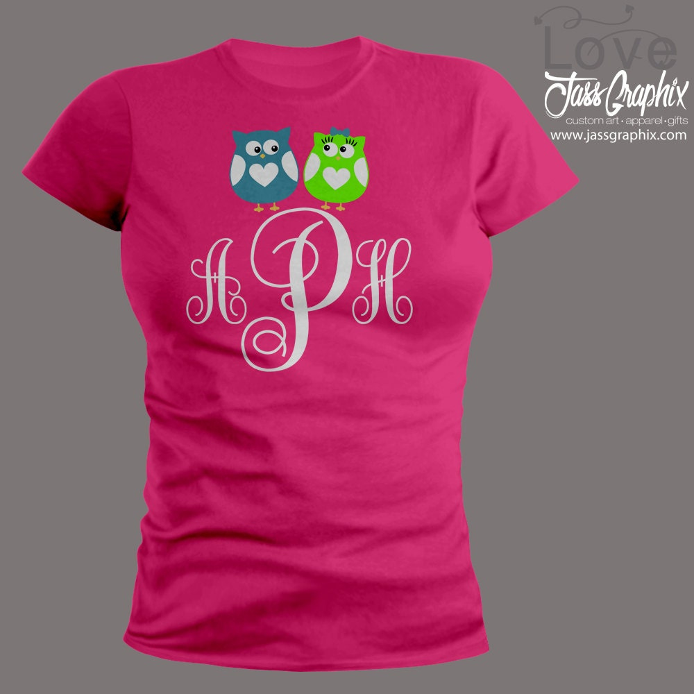 Valentine 39 S Day Shirt Monogrammed With 2 Cute Owls This