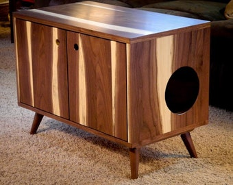 Solid Walnut Mid-Century Modern Cat Litter Box