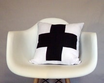 Swiss Cross Black White Linen Throw Pillow Cover Reversible Plus Sign Crux Accent Pillow Cushion Natural Organic Modern Minimalist Neutral