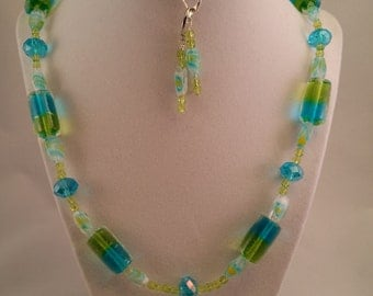 Blue and Green Spring Necklace and Earring Set