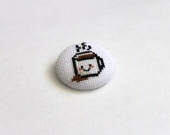 Coffee Cup Cross Stitch Button