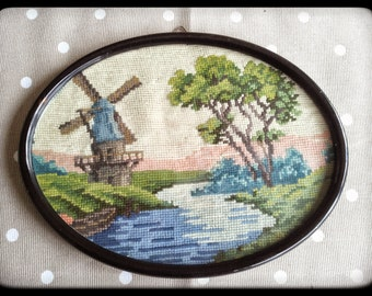Vintage retro framed dutch windmill needlepoint wall hanging decor