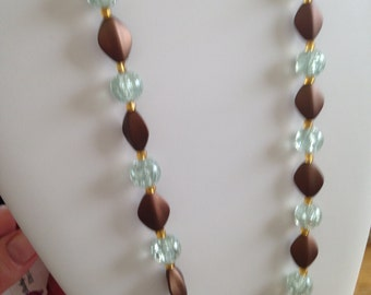 Brown with Light Teal Crystal