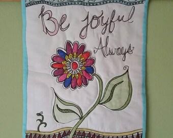 Be Joyful Always Zentangle Wall Hanging, Zentangle Flower Wall Hanging, Inspirational Wall Hanging