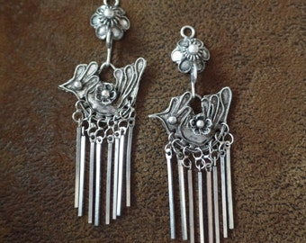 SALE!! Price Reduced from 32.00 to 26.00!! Vintage Hmong Tribe Chicken Earring Components/Pendants, Silver/Brass, 1 Pair
