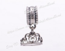 NEW 925 Sterling Silve Screw Cinderella's Tiara Pendant Dangle Charm Beads Fits All European Style Women Jewelry Bracelets Necklaces  CB513