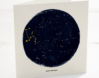 Leo Horoscope Astrology Birthday Card, Star sign zodiac with a minimalist astrology constellation design