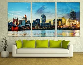 Downtown Cincinnati, Ohio Skyline Canvas Print Triptych, 3 Panel Split - Panoramic city wall art for wall decor, interior design decoration