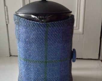 Blue Check Harris Tweed thermal lined Large French coffee press cover