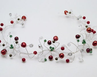 Christmas winter wedding hair vine, bridal hair accessory,wreath on silver wire with red pearls, green Swarovski crystals and rock crystal.