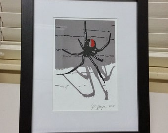Black Beauty - original hand-pulled, three-colour block print - redback spider - 11cm x 14.5cm image; unframed