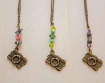 Camera charm necklace, chain, bronze and colored beads