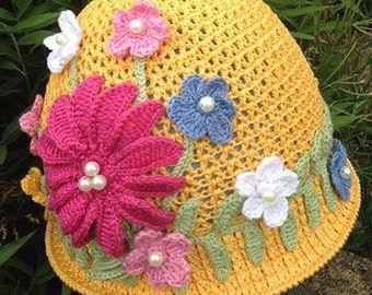 Crochet summer hat, girl hat, handmade hat, panama, cotton hat