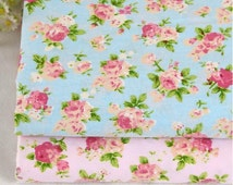 Pink /Blue floral fabric,flower fabric ,cotton flower fabric, floral cotton fabric flower bedding/sheet/cloth /cotton twill fabric--1/2 yard