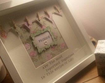 Perfect for a Friend Framed Personalised Bespoke Bunting Gift - Friends Are The Most Important Ingredient In This Recipe Of Life
