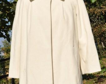 Vintage white wool coat for women