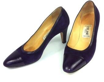 CELINE Paris designer SHOES Made in Italy // Marque Deposee // Purple suede heels // Leather soles