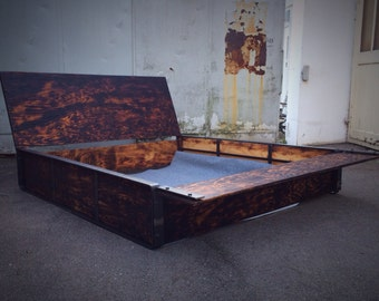 Handmade bed in the industrial look