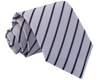 Single Stripe Silver & Navy Tie