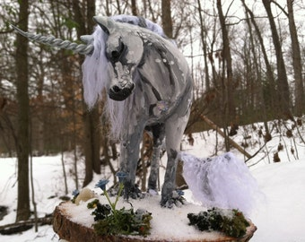 White Unicorn Sculpture