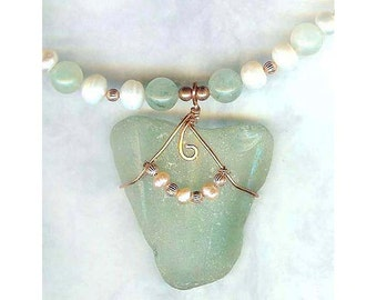 Beach Glass Pendant Necklace, Sea Green Glass, Copper Wire Wrapped, Freshwater Pearls, Green Aventurine Summer Necklace