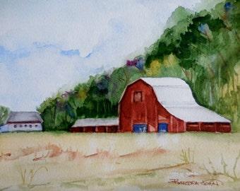Oregon Barn Painting, Watercolor Barn, original watercolor.