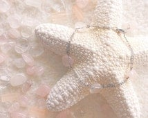 "Bracelet rose quartz silvery chain - ""Waiting for summer"""
