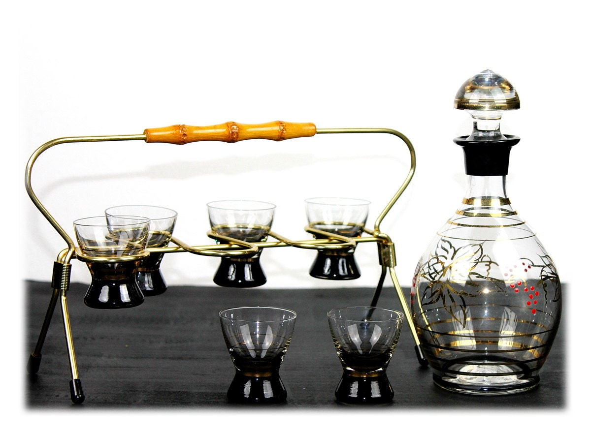 vintage barware set shot glasses set mid century 1960s black