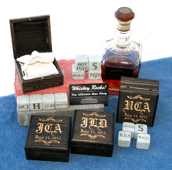 4 Cool Bespoke Groomsman or Best Man Gifts, 4 Large engraved whiskey stones in a Personalized Wood Box, Made in the USA
