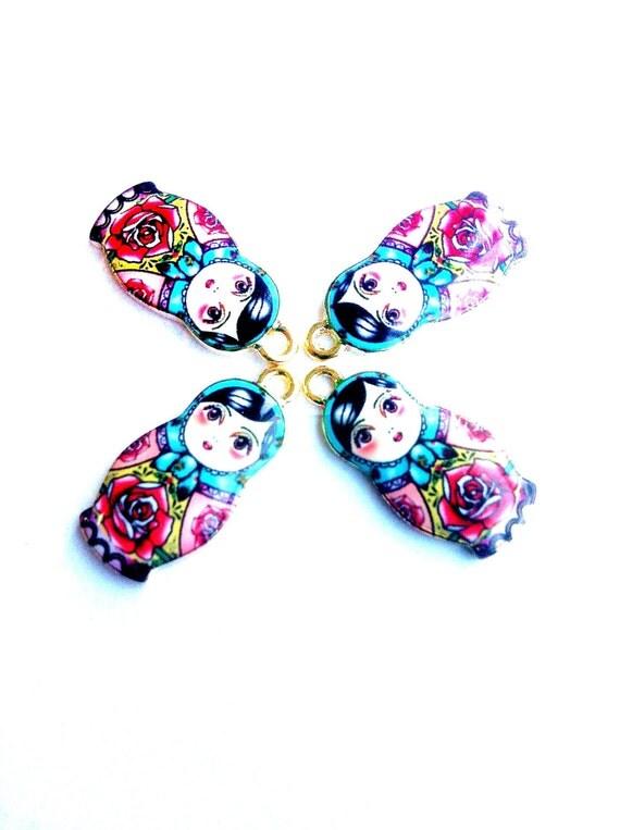 Flowered Matryoshka Nesting Doll Charms 4pcs