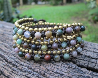 Fancy jasper wrap bracelet,Bohemian bracelet,fancy jasper jewelry